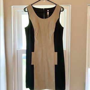 Kenzie Faux Leather Black and Tan Dress